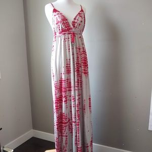 Gypsy 05 Maxi Dress Red Tie Dye Floor Length Large